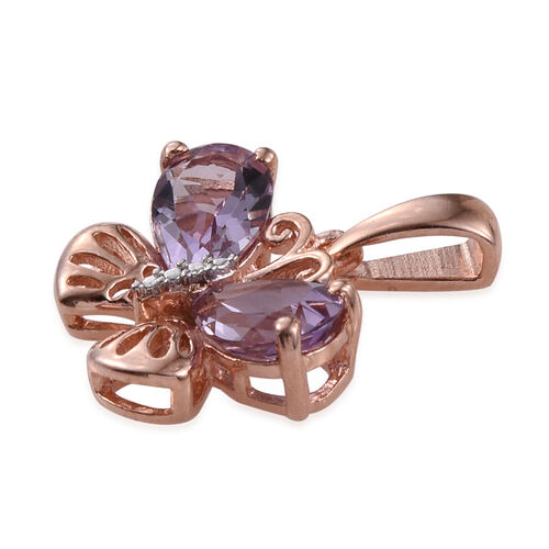 Rose De France Amethyst (Pear) Butterfly Pendant in Rose Gold Overlay Sterling Silver 2.500 Ct.