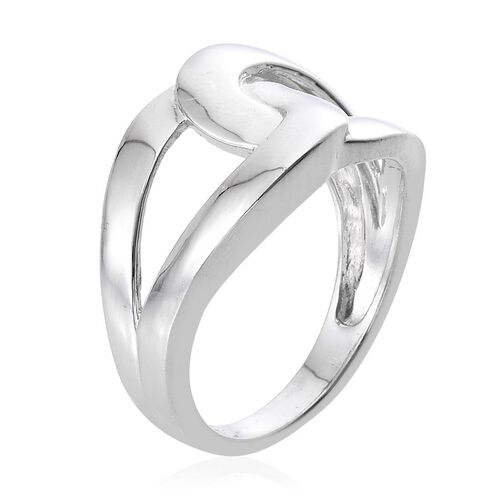 Platinum Overlay Sterling Silver Interlocking Ring, Silver wt 3.93 Gms.