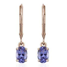 9K Y Gold Tanzanite (Ovl) Lever Back Earrings 1.250 Ct.