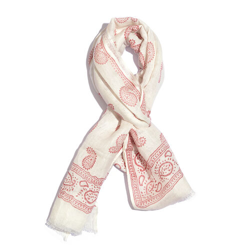 Red Colour Handblock Paisley Printed White Colour Scarf (Size 180x70 Cm)