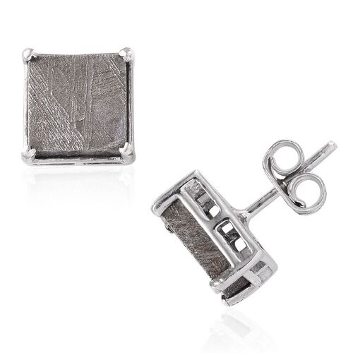 Meteorite (Sqr) Stud Earrings (with Push Back) in Platinum Overlay Sterling Silver 12.000 Ct.