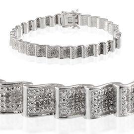 Diamond (Rnd) Bracelet in Platinum Overlay Sterling Silver (Size 7.5) 1.000 Ct.