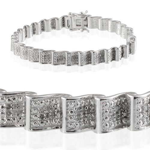 Diamond (Rnd) Bracelet in Platinum Overlay Sterling Silver (Size 7.5) 1.000 Ct.