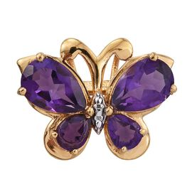 Uruguay Amethyst (Pear) Butterfly Pendant in 14K Gold Overlay Sterling Silver 3.000 Ct.