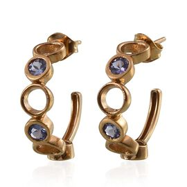 Tanzanite (Rnd) J Hoop Earrings (with Push Back) in 14K Gold Overlay Sterling Silver 1.400 Ct.