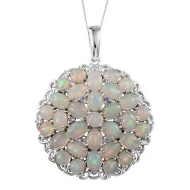 Ethiopian Welo Opal (Ovl), Tanzanite Cluster Pendant With Chain in Platinum Overlay Sterling Silver 13.900 Ct.