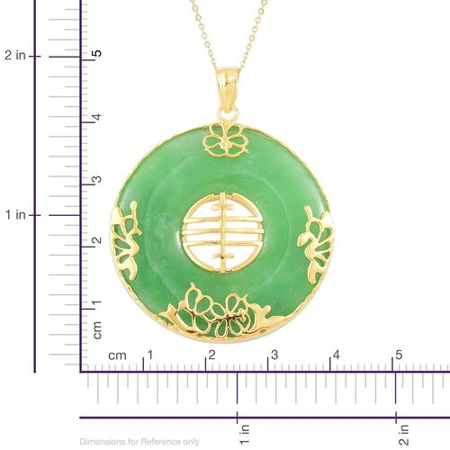 Hand Polished Green Jade Chinese Character FENG  Pendant with Chain (Size 20) in Yellow Gold Overlay Sterling Silver 80.100 Ct.