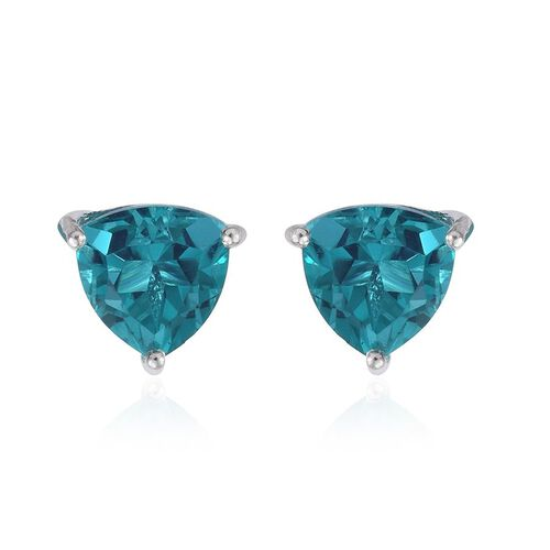 Capri Blue Quartz (Trl) Stud Earrings (with Push Back) in Sterling Silver 4.500 Ct.