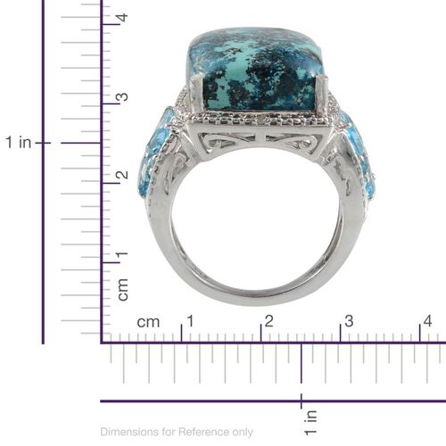 Table Mountain Shadowkite (Cush 16.75 Ct), Electric Swiss Blue Topaz and Diamond Ring in Platinum Overlay Sterling Silver 18.750 Ct.