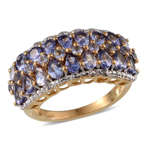 Tanzanite (Pear), Diamond Ring in 14K Gold Overlay Sterling Silver 3.170 Ct.
