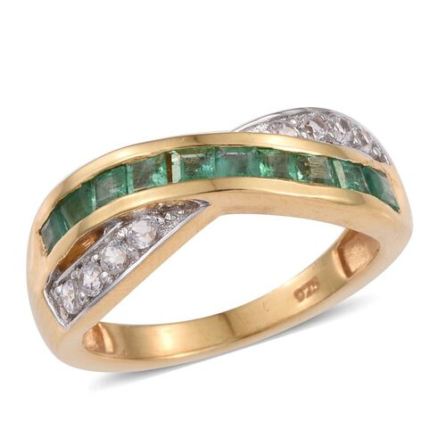 Kagem Zambian Emerald (Sqr), Natural Cambodian Zircon Criss Cross Ring in 14K Gold Overlay Sterling Silver 1.250 Ct.