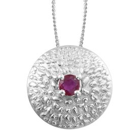 African Ruby (Rnd) Pendant With Chain in Platinum Overlay Sterling Silver 0.250 Ct.