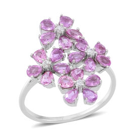 Pink Sapphire (Pear), White Zircon Floral Ring in Rhodium Plated Sterling Silver 6.000 Ct.