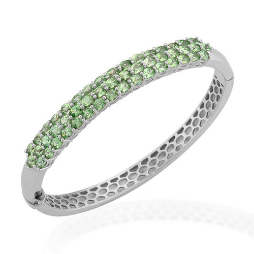 Tsavorite Garnet (Ovl) Bangle in Platinum Overlay Sterling Silver  (Size 65X55 mm Medium) 8.000 Ct.