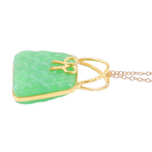 Green Jade Purse Pendant With Chain in Yellow Gold Overlay Sterling Silver 27.000 Ct.