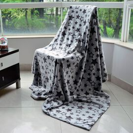 Superfine Double Layer Microfibre Burn out Grey and Black Colour Blanket with Stars Pattern (Size 200x150 Cm)