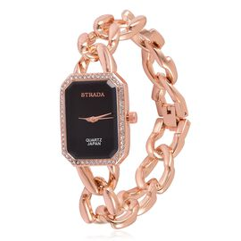 STRADA Japanese Movement Black Dial with White Austrian Crystal Water Resistant Watch in Rose Gold Tone with Stainless Steel Back and Chain Strap