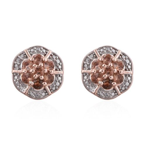 Brazilian Andalusite (Rnd) Floral Stud Earrings (with Push Back) in Rose Gold Overlay Sterling Silver 1.000 Ct.