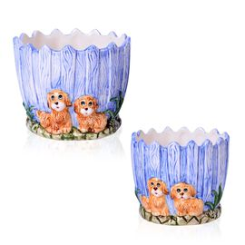 Home Decor - Set of 2 - Ceramic Dogs Flower Pot (Large Size 13x12x12 Cm) and (Small Size 10.5x10x10 Cm)