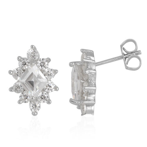 ELANZA AAA Simulated Diamond Stud Earrings (with Push Back) in Rhodium Plated Sterling Silver