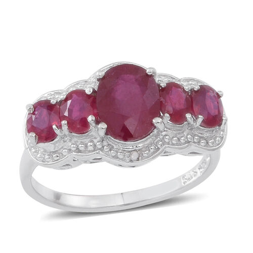 African Ruby (Ovl 3.79 Ct), Diamond Ring in Rhodium Plated Sterling Silver 6.000 Ct.