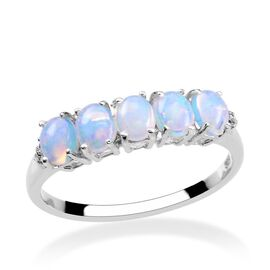 Ethiopian Welo Opal (Ovl), Diamond Ring in Platinum Overlay Sterling Silver 0.910 Ct.