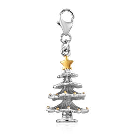Christmas Tree 2 Tone Silver Charm Pendant in Platinum and Yellow Gold Overlay 3.96 Gms.