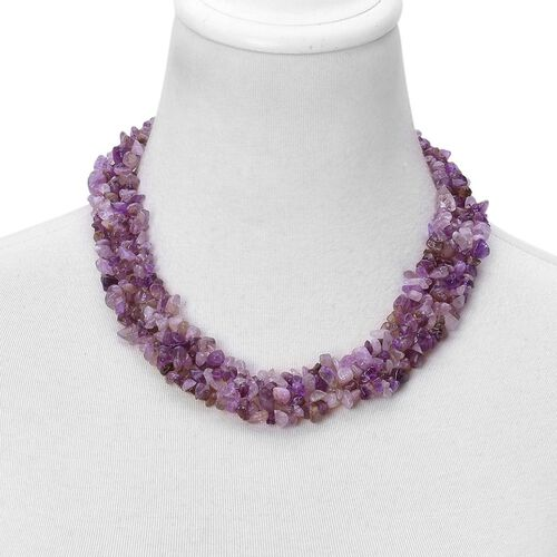 Amethyst Necklace (Size 18 with 2 inch Extender) and Stretchable Bracelet (Size 7.5) in Silver Tone 840.000 Ct.