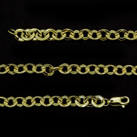 JCK Vegas Collection 9K Y Gold Hammered Round Link Cable Chain (Size 20), Gold wt 14.57 Gms.