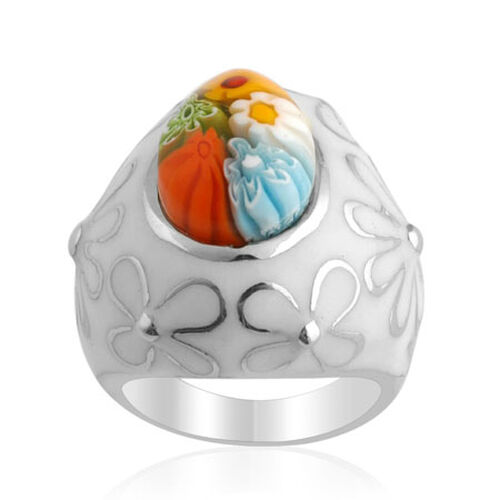 Murano Glass Silver Tone Ring