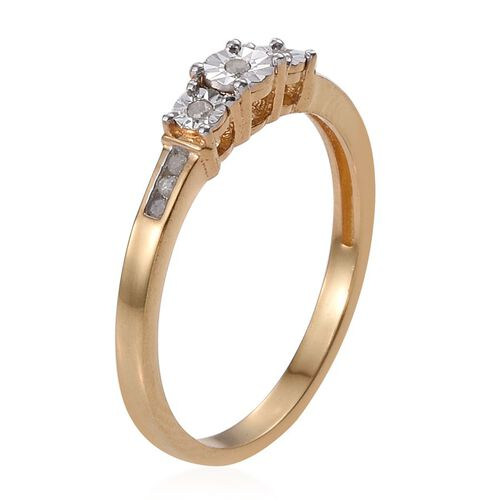 Diamond Trilogy Silver Ring in 14K Gold Overlay 0.100 Ct.