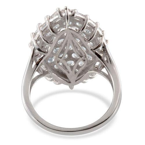 Espirito Santo Aquamarine (Rnd), White Topaz Cluster Ring in Platinum Overlay Sterling Silver 3.750 Ct.