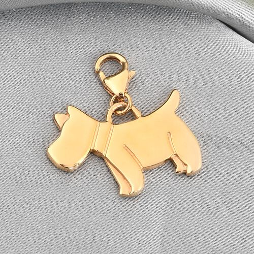 14K Gold Overlay Sterling Silver Scottish Terrier Dog Charm, Silver wt 3.43 Gms.
