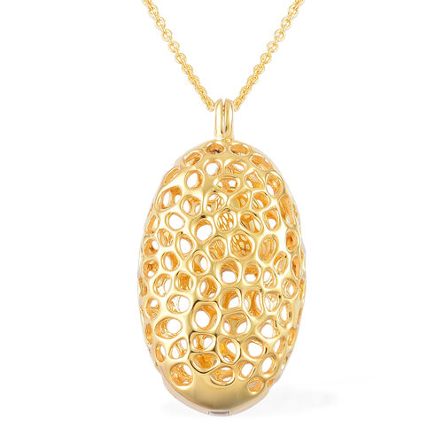 RACHEL GALLEY Yellow Gold Overlay Sterling Silver Charmed Pebble Necklace (Size 30), Silver wt 24.47 Gms.