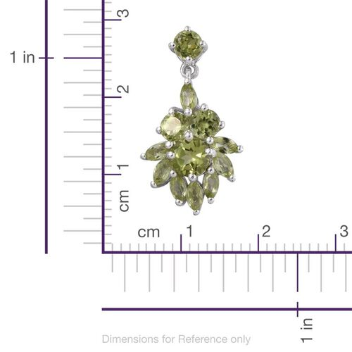 AA Hebei Peridot (Rnd) Earrings (with Push Back) in Platinum Overlay Sterling Silver 4.000 Ct.