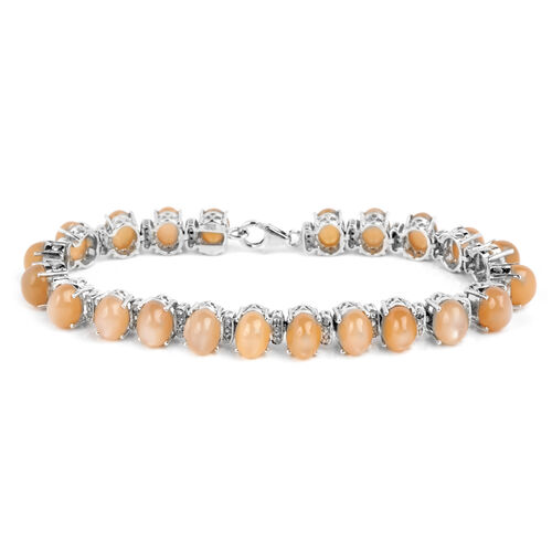 Mitiyagoda Peach Moonstone (Ovl), Diamond Bracelet in Platinum Overlay Sterling Silver (Size 7.5) 31.000 Ct.