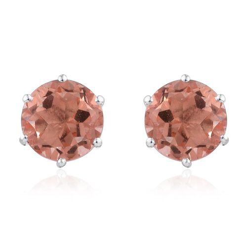 Morganite Colour Quartz (Rnd) Stud Earrings (with Push Back) in Sterling Silver 4.250 Ct.