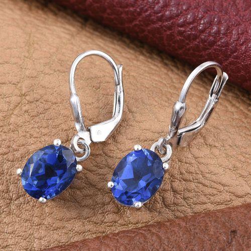 Ceylon Colour Quartz (Ovl) Lever Back Earrings in Platinum Overlay Sterling Silver 4.250 Ct.