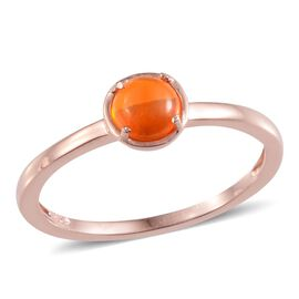 Orange Ethiopian Opal (Rnd) Solitaire Ring in Rose Gold Overlay Sterling Silver 1.000 Ct.