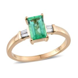 ILIANA 18K Y Gold Boyaca Colombian Emerald (Oct 1.04 Ct), Diamond Ring 1.200 Ct.
