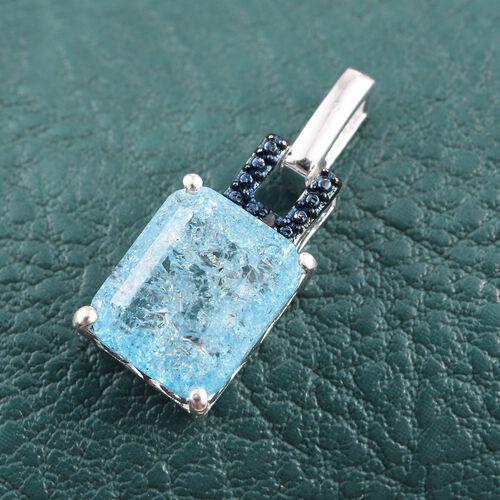 Pariaba Blue Crackled Quartz (Oct 4.00 Ct), Blue Diamond Pendant in Sterling Silver 4.010 Ct.