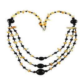 Black Onyx (Rnd), Citrine Triple Strand Beaded Necklace (Size 24) in Silver Bond 350.000 Ct.
