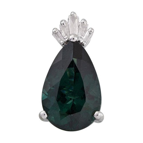 9K W Gold Ocean Blue Apatite (Pear 3.55 Ct), Diamond Pendant 3.650 Ct.
