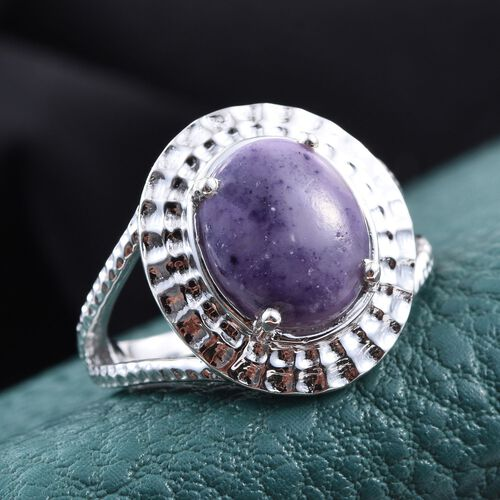 Purple Opal (Ovl) Solitaire Ring in Platinum Overlay Sterling Silver 3.000 Ct.