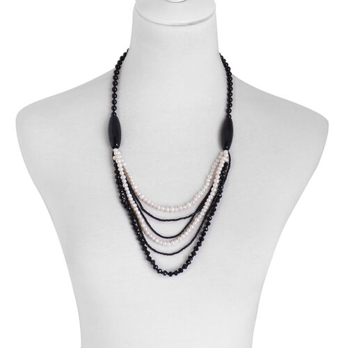 Dyed Black Agate, Fresh Water White Pearl and Black Glass Necklace (Size 24) in Silver Tone