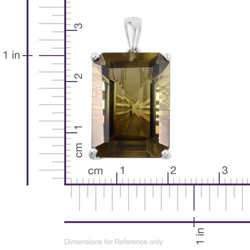 One Time Deal-Smoketrine (Oct) Pendant in Platinum Overlay Sterling Silver 22.000 Ct.