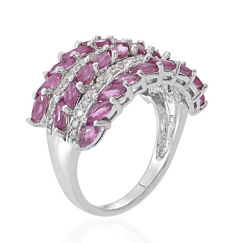 9K W Gold Burmese Ruby (Mrq), Natural Cambodian White Zircon Ring 3.250 Ct.