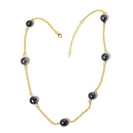 Tahitian Pearl Station Necklace (Size 18 with 2 inch Extender) in Yellow Gold Overlay Sterling Silver