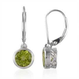 AA Hebei Peridot (Rnd) Lever Back Earrings in Platinum Overlay Sterling Silver 3.000 Ct.