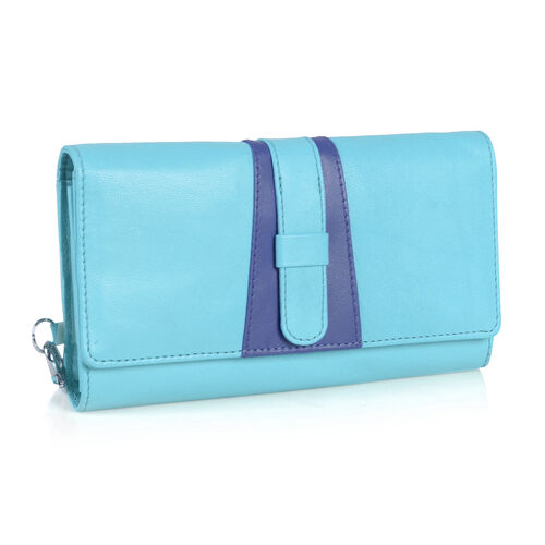 Limited Edition - 100% Genuine Leather RFID Blocker Turquoise and Navy Colour Wallet with External Zipper Pocket (Size 19.5X10 Cm)